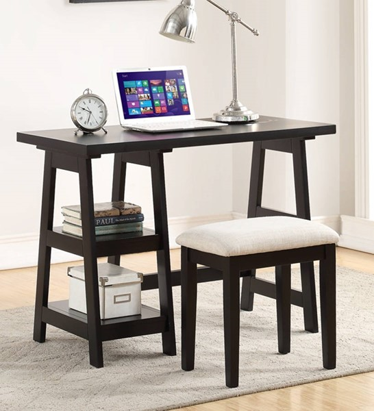 Homeroots Black Wood Writing Desk with 2 Side Shelves and Stool OCN-315339