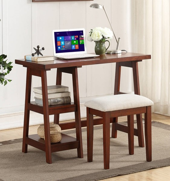Homeroots Cherry Brown Wood Writing Desk with 2 Side Shelves and Stool OCN-315340