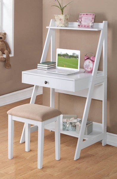 Homeroots White Wood Writing Desk with Stool Set OCN-315342