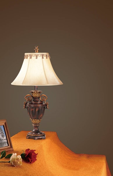 2 HomeRoots Brown Polyresin Antiqued Resin Table Lamps OCN-315343