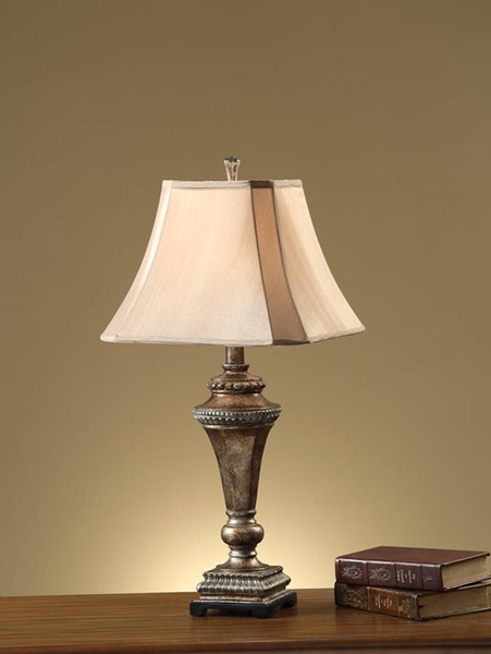 2 HomeRoots Brown Polyresin Fabric Square Shade Pillar Stand Table Lamps OCN-315344