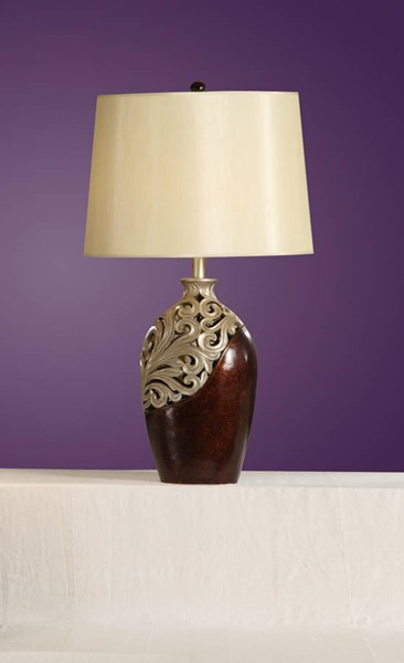 2 HomeRoots Silver Brown Polyresin Table Lamps OCN-315345