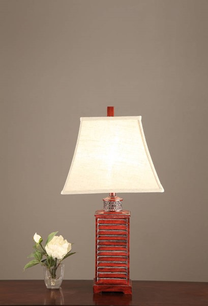 2 HomeRoots Red Polyresin Square Belled Shade Carved Base Table Lamps OCN-315348