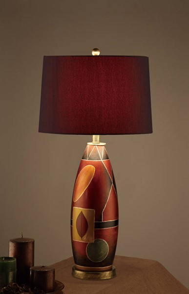 2 HomeRoots Red Polyresin Drum Shade Mosaic Pattern Base Table Lamps OCN-315352