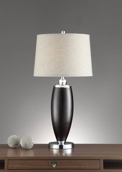 2 HomeRoots Black Polyresin Wide Shade Table Lamps OCN-315354