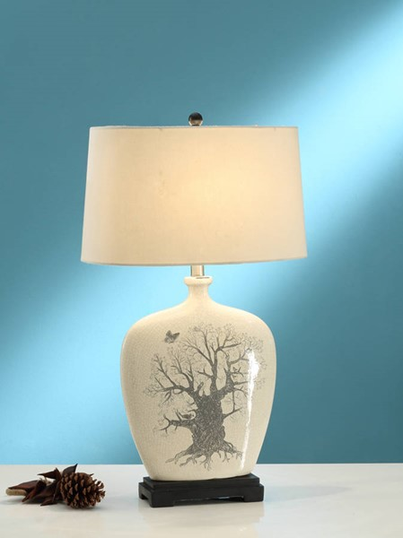 2 HomeRoots White Ceramic Polyresin Table Lamps OCN-315358