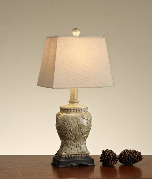 2 HomeRoots White Gold Polyresin Carved Base Table Lamps OCN-315360