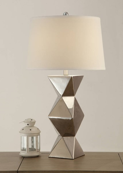 2 HomeRoots Silver Ceramic Drum Shade Geometric Pattern Base Table Lamps OCN-315361