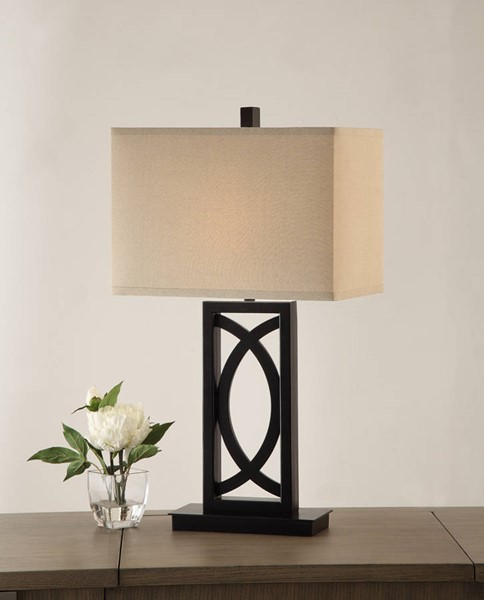 2 HomeRoots Black White Polyresin Rectangular Table Lamps OCN-315362