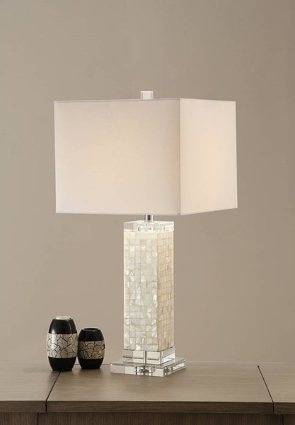 2 HomeRoots White MDF Crystal Modish Rectangular Shell Table Lamps OCN-315363