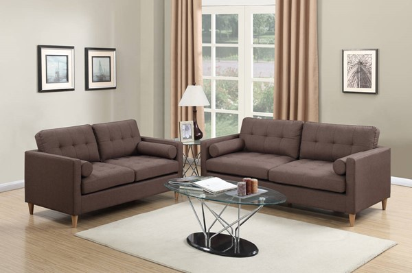 HomeRoots Chocolate Brown Polyfiber Fabric Plywood 2pc Sofa and Loveseat Set OCN-315368