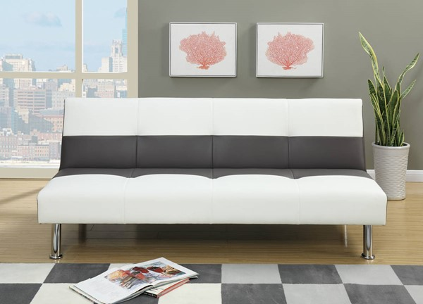 HomeRoots Black White Faux Leather Pine Wood Adjustable Sofa OCN-315370