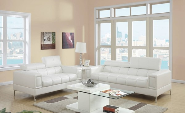 HomeRoots White Bonded Leather 2pc Sofa and Loveseat Set with Headrests OCN-315385