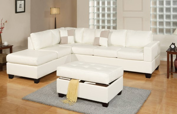 Homeroots White Bonded Leather 3pc Sectional with Ottoman OCN-315386