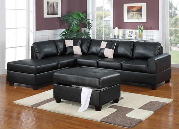 Homeroots Black Bonded Leather 3pc Sectional with Ottoman OCN-315387
