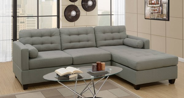 Homeroots Gray Linen Fabric Tufted Sectional OCN-315388