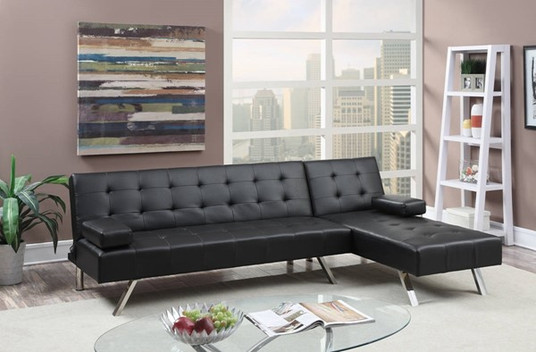 HomeRoots Black Faux Leather Plywood 2pc Adjustable Sofa Sectional OCN-315393