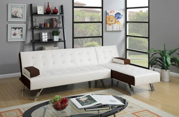 HomeRoots White Brown Faux Leather Plywood 2pc Adjustable Sofa Sectional OCN-315394