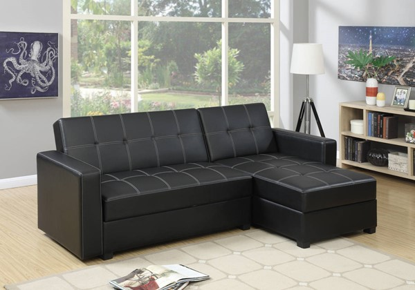 HomeRoots Black Faux Leather Plywood 2pc Adjustable Storage Sofa Sectional OCN-315395
