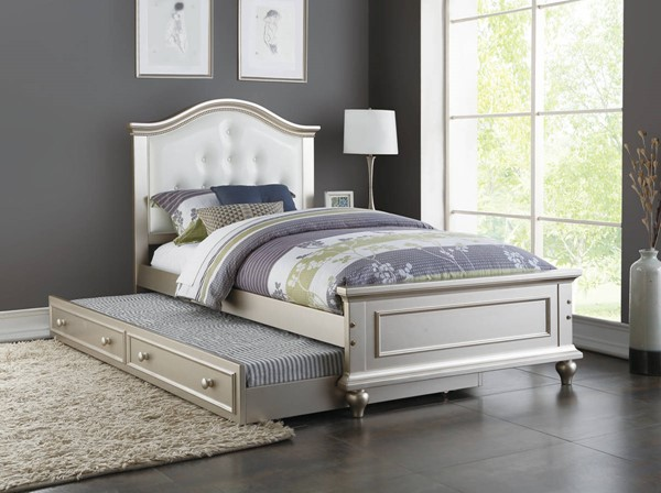 HomeRoots Silver White Pine MDF Twin Trundle Bed OCN-315419