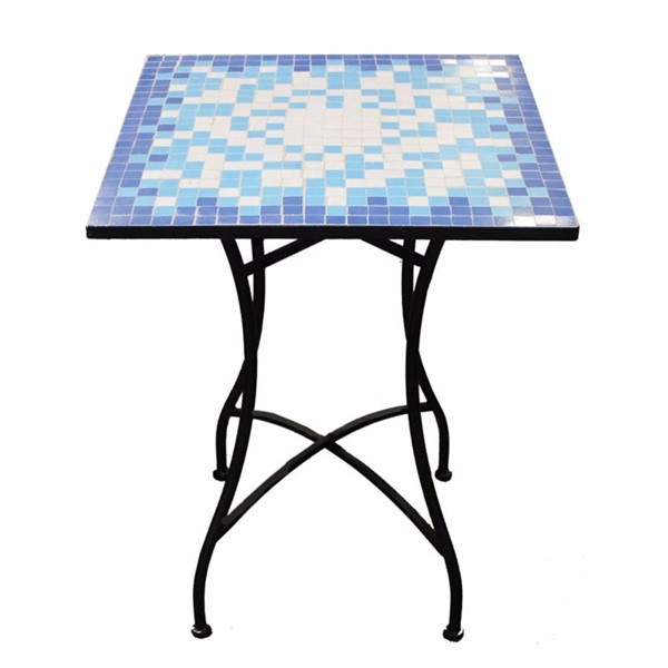 Homeroots Blue Mosaic Metal Square Table OCN-315483
