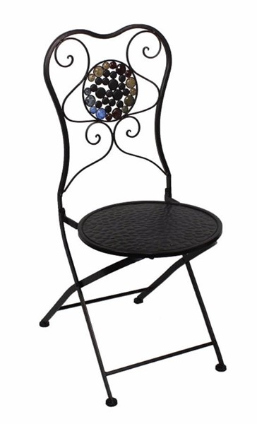 Homeroots Black Metal Chair with Stones OCN-315704