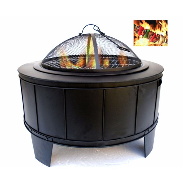 HomeRoots Black Round Metal Fire Pit OCN-315930