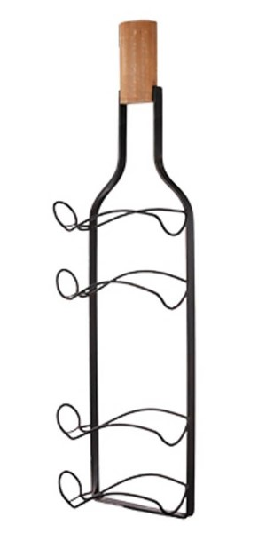 Homeroots Black Metal Fir Wood Wine Rack OCN-316219