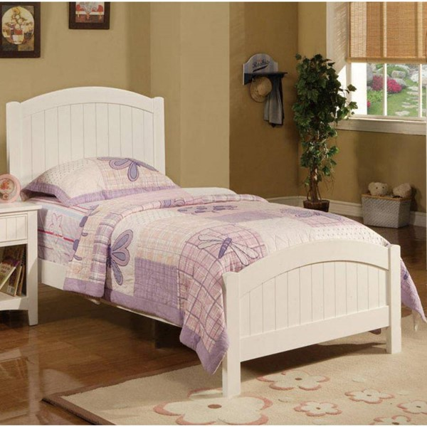 HomeRoots White Wooden Twin Bed OCN-316227