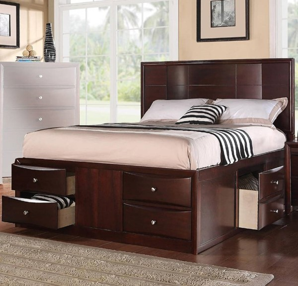 HomeRoots Brown Espresso Solid Wood 6 Drawers Beds OCN-316244-BED-VAR