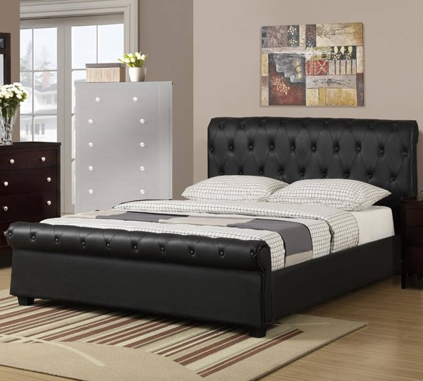 HomeRoots Black Faux Leather Full Button Tufted Bed OCN-316251