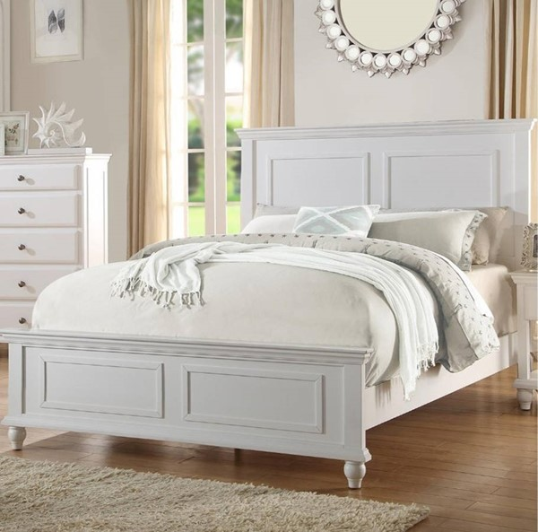 HomeRoots White Wood Cal King Bed OCN-316259