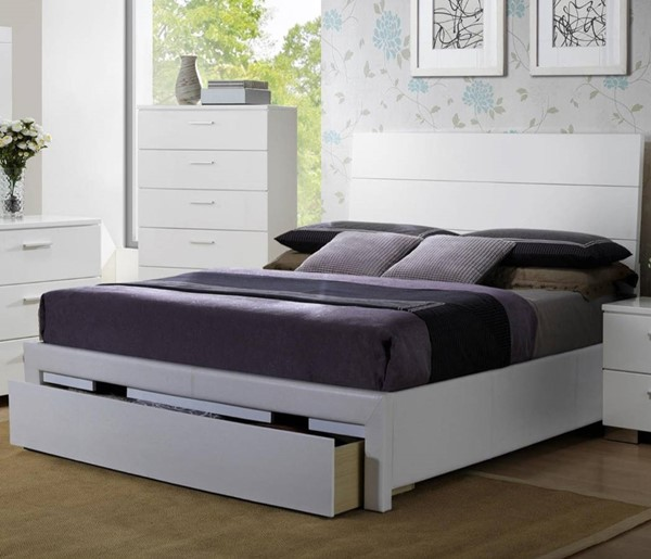 HomeRoots White Wooden King Storage Bed OCN-316265