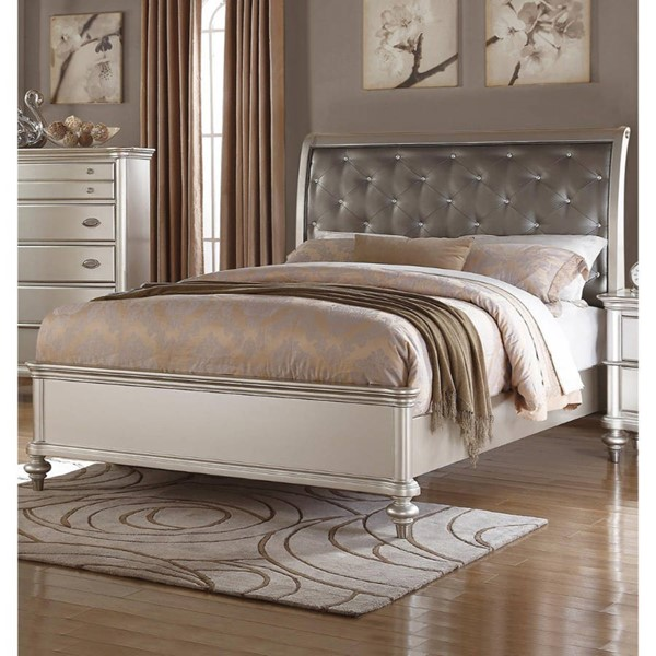 HomeRoots Shinny Silver PU Tufted Cal King Bed OCN-316273
