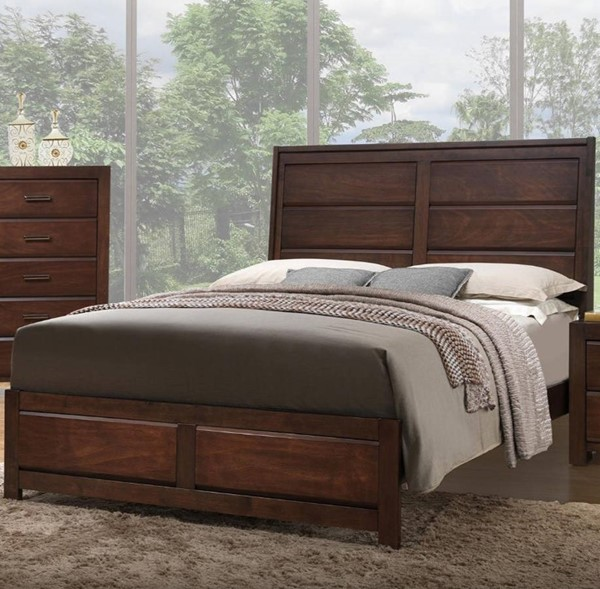 HomeRoots Walnut Wooden 2 Under Bed Drawers Cal King Bed OCN-316282