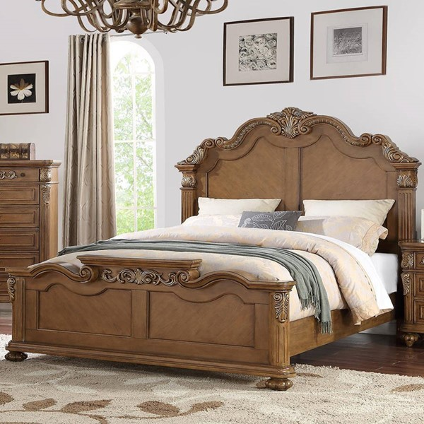 HomeRoots Light Brown Solid Pine Wood Cal King Bed OCN-316308
