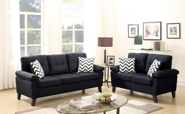 HomeRoots Black Polyfiber Plywood 2pc Sofa and Loveseat Set with Accent Pillows OCN-316314