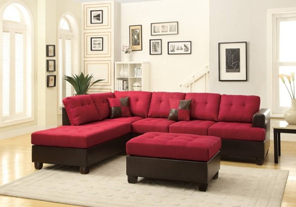 Homeroots Red Brown Fabric 3pc Sectional OCN-316316