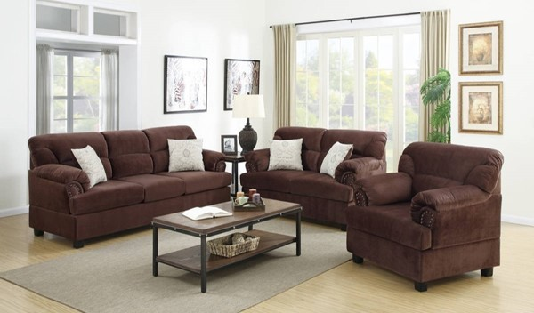 HomeRoots Chocolate Brown Microfiber Plywood 3pc Living Room Set OCN-316319
