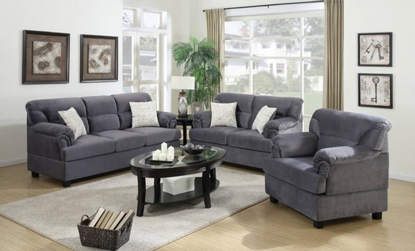 HomeRoots Gray Microfiber Plywood 3pc Living Room Set OCN-316320