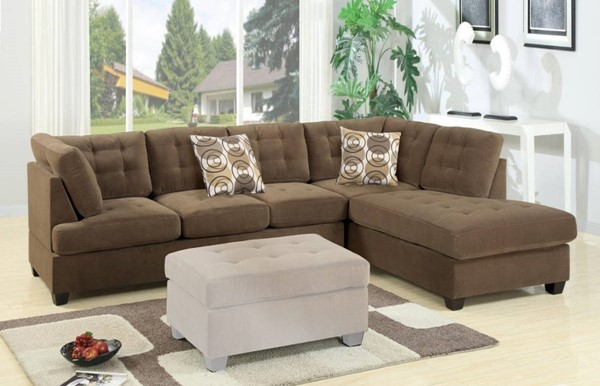 Homeroots Brown Fabric 2pc Corduroy Sectional OCN-316329