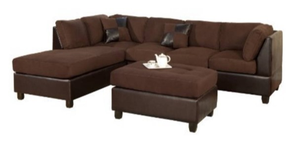 Homeroots Chocolate Fabric Faux Leather 3pc Reversible Sectional OCN-316332