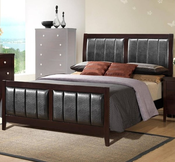 HomeRoots Dark Brown Solid Rubberwood Black PU Cal King Beds OCN-316344-BED-VAR