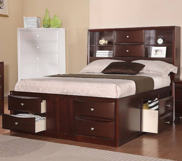 HomeRoots Brown Solid Pine Wood Display Shelves Cal King Drawers Bed OCN-316347