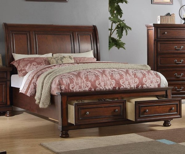 HomeRoots Antique Cherry Wooden Cal King Drawer Bed OCN-316354