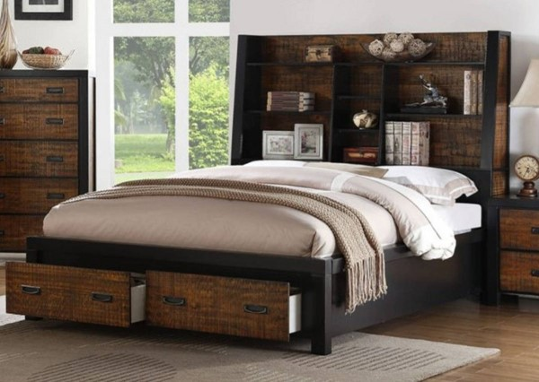 HomeRoots Brown Black Two Toned Wooden Display Case Cal King Drawers Beds OCN-316360-BED-VAR