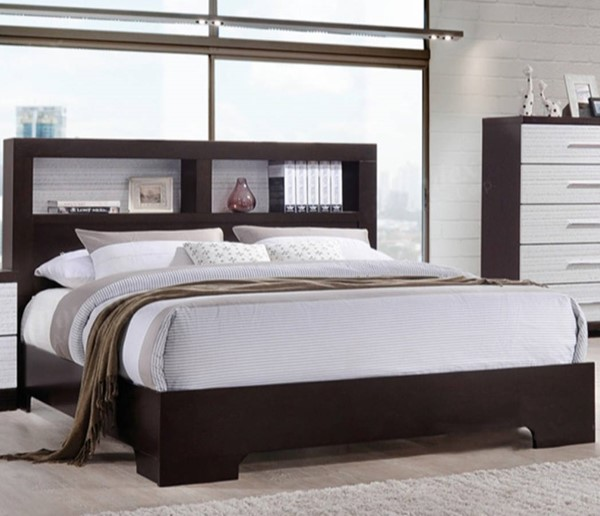 HomeRoots Brown Wooden Bookcase King Bed OCN-316363
