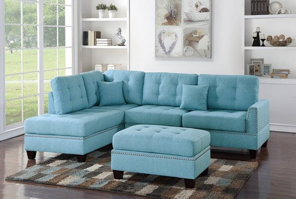 Homeroots Blue Polyfiber 3pc Sectional Set with Ottoman OCN-316420