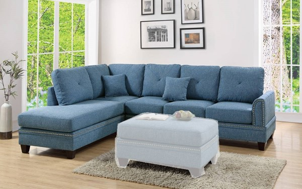 Homeroots Blue Polyfiber 2pc Sectionals with Nailhead Trims OCN-316425-SEC-VAR