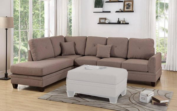 Homeroots Light Brown Polyfiber 2pc Sectional with Nailhead Trims OCN-316426